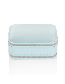 Fashion Light Blue Portable Zipper Pu Multifunctional Jewelry Jewelry Box