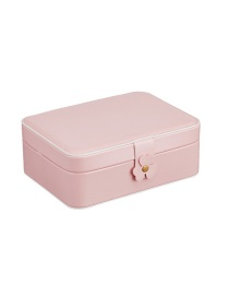 Fashion Pink Pu Double-layer Large-capacity Jewelry Box
