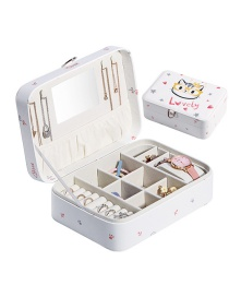 Fashion White Printed Large-capacity Jewelry Box With Mirror
