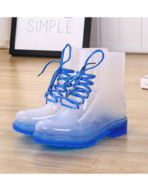 Fashion Transparent Blue Background Anti-skid Lace Crystal Jelly Transparent Rain Boots