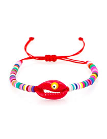 Fashion Red Natural Shell Eyes Hand-woven Soft Ceramic Bracelet