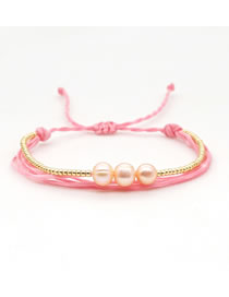 Fashion Pink Rice Pearl Handmade Natural Freshwater Pearl Woven Multilayer Bracelet