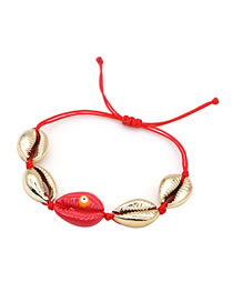 Fashion Red Natural Shell Hand-woven Eye Drops Bracelet