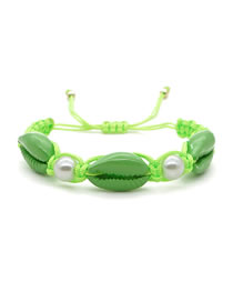 Fashion Green Hand-woven Natural Freshwater Pearl Shell Bracelet