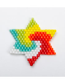 Fashion Hexagonal Color Mixing Rice Beads Weave Geometric Pattern Accessories