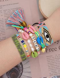 Fashion Set Color Mixing Natural Shell Handmade Rice Beads Woven Eye Pearl Bracelet Set