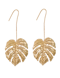 Fashion Golden Alloy Leaf Earrings