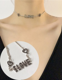 Fashion Black Love Chain Hollow Chain Necklace With Diamonds