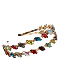 Fashion Color Alloy Double-layer Headband With Diamond Geometry