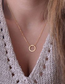 Fashion Golden Geometric Round Alloy Necklace