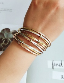 Fashion Yellow Pu Leather Rope Round Bead Multi-layer Bracelet