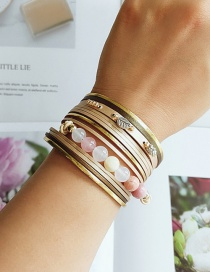 Fashion Golden Pu Leather Alloy Diamond Multi-layer Bracelet