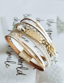 Fashion White Pu Leather Hand-set Diamond Multi-layer Bracelet