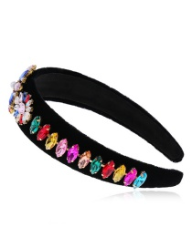 Fashion Color Flower-set Diamond-rimmed Sponge Headband