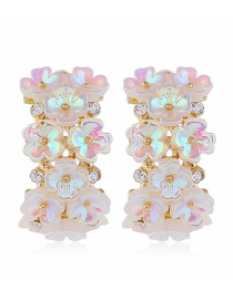 Fashion Pink Flower Resin Diamond Earrings