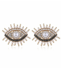 Fashion White Pearl Earrings With Alloy Eyes And Diamonds