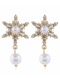 Fashion Yellow Diamond Pearl Earrings With Diamonds