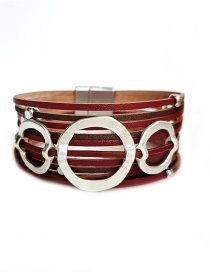 Fashion Red Pu Leather Hand-woven Alloy Magnetic Buckle Multi-layer Bracelet