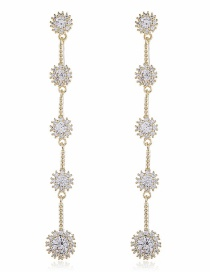 Fashion White Long Alloy Earrings With Diamond Flowers