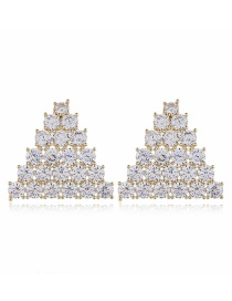 Fashion White Copper Alloy Diamond Geometric Earrings
