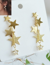Fashion Yellow Alloy Star Pearl Tassel Earrings