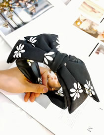 Fashion Black Chiffon Small Daisy Wide-brimmed Double-layer Bow Headband