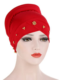 Fashion Red Beaded Flower Sponge Splicing Cross Turban Hat