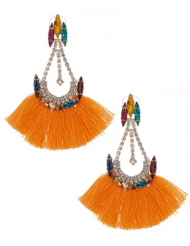 Fashion Orange Alloy Diamond Drop Tassel Earrings