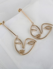 Fashion Golden Expression Alloy Hollow Irregular Earrings