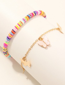 Fashion Color Mixing Soft Ceramic Butterfly Resin Five-pointed Star Anklet