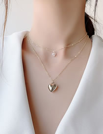 Fashion Golden Love Pearl Alloy Double Necklace