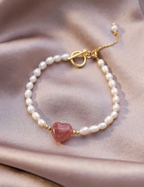 Fashion Pink Natural Freshwater Pearl Strawberry Crystal Love Bracelet