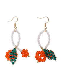 Fashion Color Mixing Crystal Woven Cherry Pearl Alloy Earrings