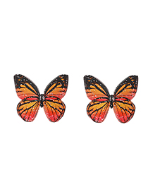 Fashion Red Pink Resin Butterfly Stud Earrings