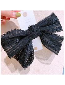 Fashion Black Lace Big Bow Side Spring Clip