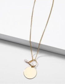 Fashion Golden Natural Freshwater Pearl Disc Alloy Necklace