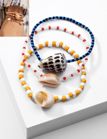 Fashion Color Mixing Rice Pearl Shell Conch Braided Bracelet Set