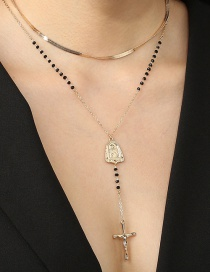 Fashion Golden Virgin Mary Cross Flat Snake Chain Double Crystal Necklace