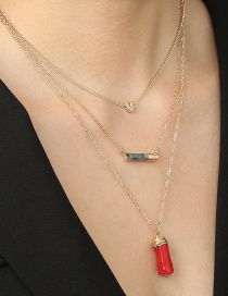 Fashion Red Cylindrical Coral Stone Pendant Alphabet Alloy Multi-layer Necklace