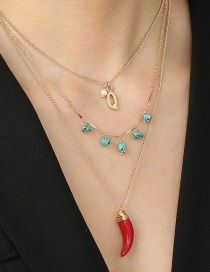 Fashion Red Turquoise Alphabet Hand-wound Red Pepper Multi-layer Necklace
