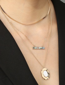 Fashion Golden Oval Flat Pearl Hanging Abalone Shell Multi-layer Necklace