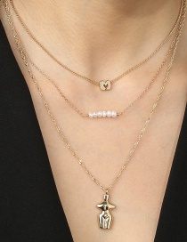Fashion Golden Alphabet Water Wave Chain Pearl Alloy Multilayer Necklace