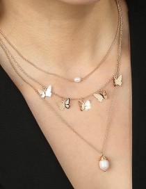 Fashion Golden Butterfly Tassel Natural Pearl Multi-layer Necklace