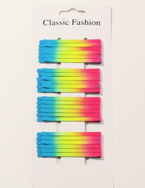 Fashion Color Mixing Wavy Gradient Color Alloy Hairpin Set