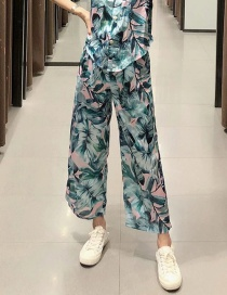 Fashion Color Loose Trousers With Pleated Leaf Print
