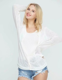 Fashion White Thin Single-breasted Knitted Cardigan
