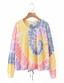Fashion Color Tie-dye Lace-up Contrast Loose Sweater