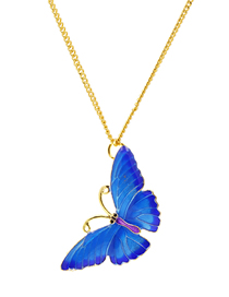 Fashion Blue Oil Drop Butterfly Alloy Necklace