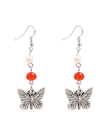 Fashion Orange Ancient Silver Butterfly And Diamond Earrings