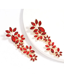 Fashion Red Pearl Alloy Multi-layer Earrings Studded With Diamond Flowers